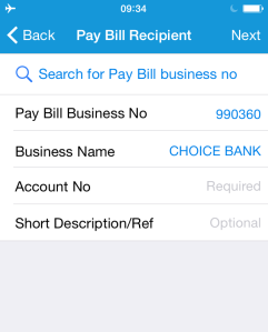Screenshot of SimbaPay app with Choice Bank selected
